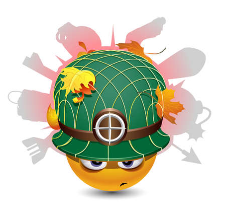 Smiley ball as soldier Vector
