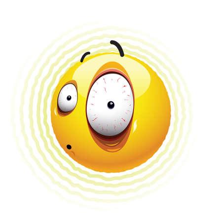 paniek: Frightened Smiley bal Stock Illustratie