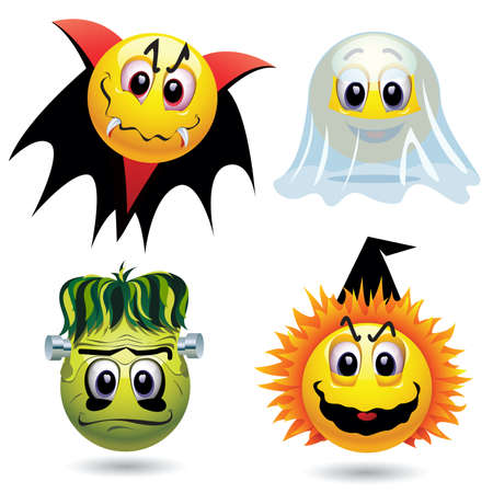 Smiley balls with Halloween mask Vector