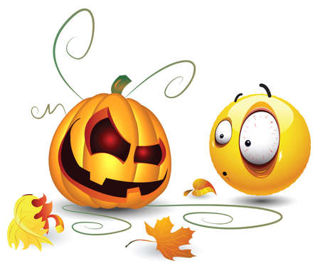 Smiley ball and Orange Pumpkin   Vector