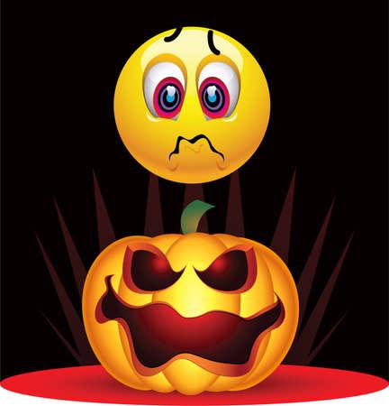 Smiley ball and Orange Pumpkin Vector