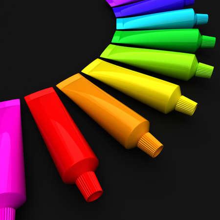red tube: Tubos de color en una fila