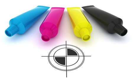 distemper: CMYK and polygraphic cross image Stock Photo