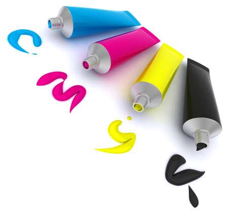 paint tube: Watercolor paints Stock Photo
