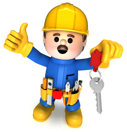 Fully equiped craftsman mascot Stock Photo - 9813600
