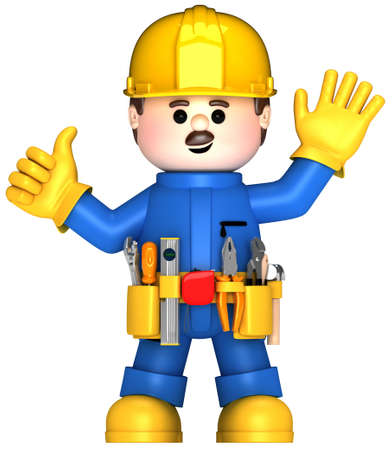 Fully equiped craftsman mascot Stock Photo - 9870427