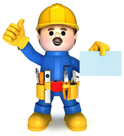 Fully equiped craftsman mascot Stock Photo - 9813930