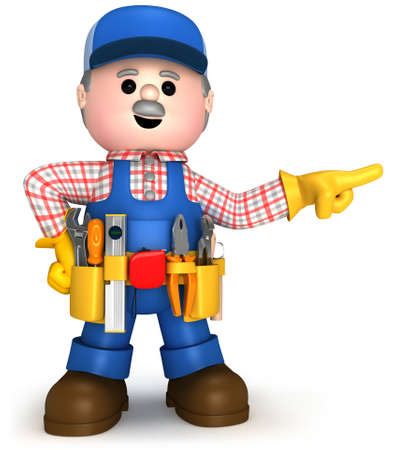Fully equiped craftsman mascot Stock Photo - 9844058