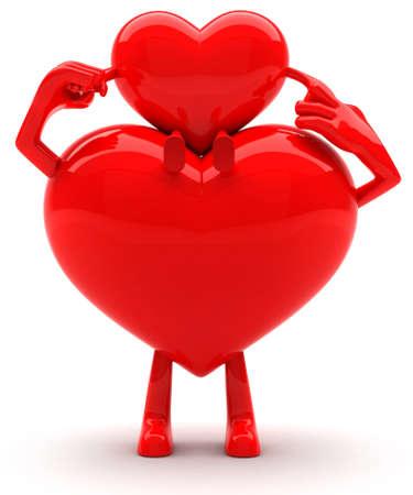 Father heart shaped mascot holding baby heart mascot photo