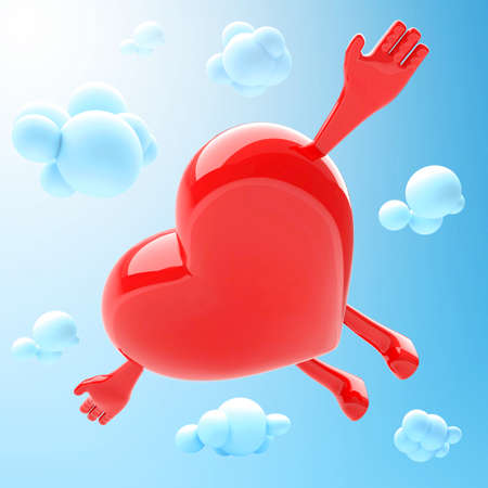 blue romance: Heart mascot flying in the sky Stock Photo