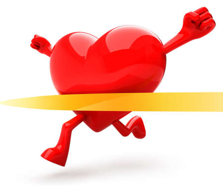 three dimensional shape: Heart shaped mascot running