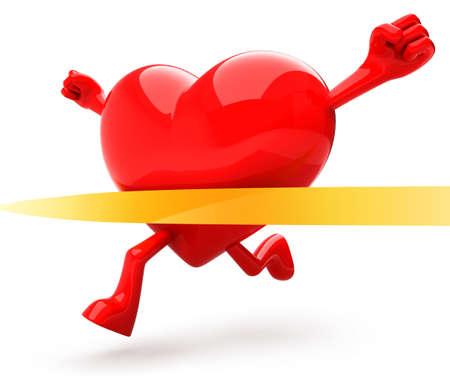 coeur sant�: Mascotte en forme de coeur en cours d'ex�cution