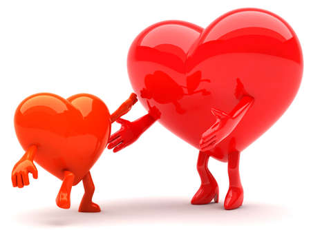 Heart shaped mother and a child mascots Stok Fotoğraf