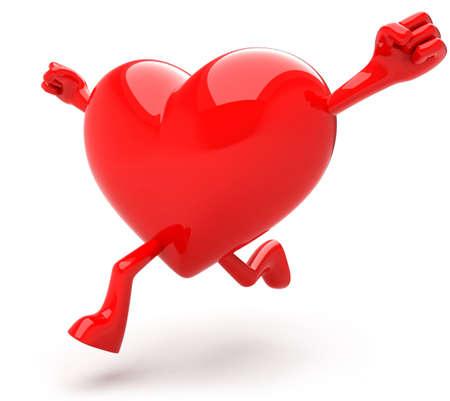 coeur sant�: C?ur en forme de mascotte ex�cutant
