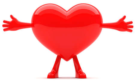 Heart shaped mascot with arms open wide Stock Photo - 9813877