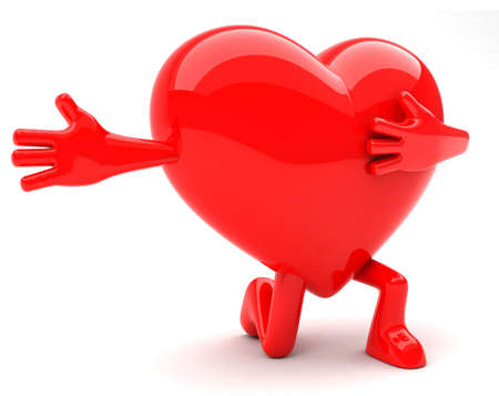 Heart shaped mascot kneeling with arm open wide photo