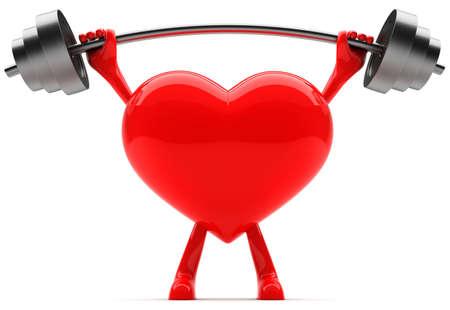 levantar peso: Coraz�n en forma de mascota de levantamiento de peso