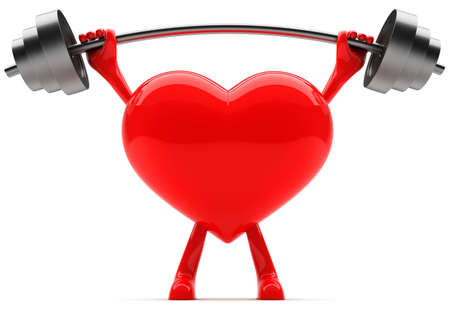heart shaped: Heart shaped mascot lifting weight