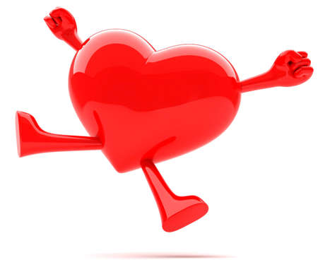 infatuation: Heart shaped mascot jumping for joy