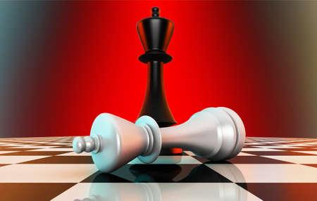 Re nero sconfiggendo il re bianco