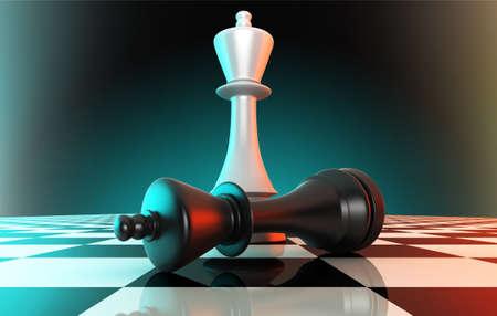 Black king defeating white king  Stock Photo