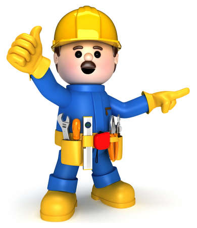 manual worker: Fully equiped craftsman mascot