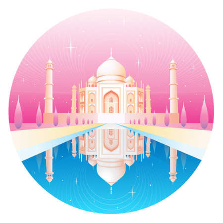 mausoleum: Taj Mahal and its reflection  Illustration