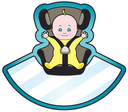 seat belt: Vector cartoon of baby in car seat Illustration