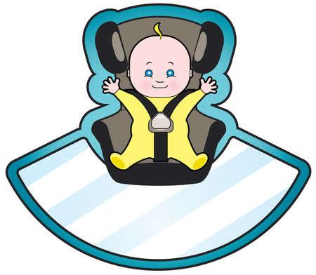 bebe a bordo: Vector de dibujos animados de beb� en el asiento de coche Vectores