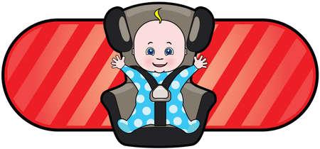 car seat: Cartoon vettore di bambino in seggiolino per auto Vettoriali