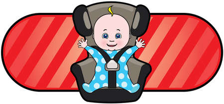 asiento coche: Vector de cartoon de bebé en el asiento de automóvil