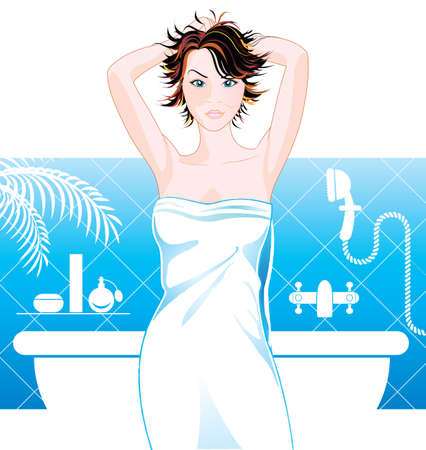 Beautiful woman in bathroom Vector