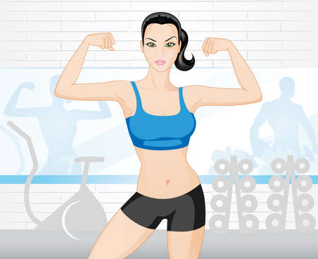 exercise equipment: Beautiful strong  woman in the gym  Illustration