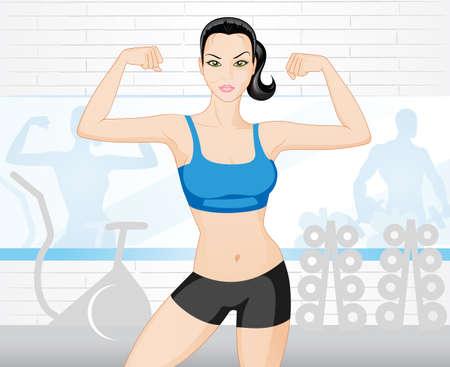muscle training: Hermosa mujer fuerte en el gimnasio  Vectores