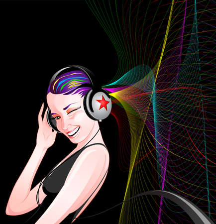 Beautiful girl with headphones listening to music Vector
