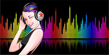 music dj: Beautiful girl with headphones listening to music