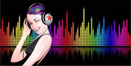 musica electronica: Hermosa chica con auriculares escuchando m�sica Vectores