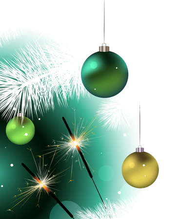 Christmas baubles hanging from the pine tree branch and two sprinklers Illustration