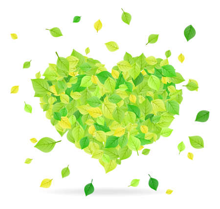 Leaves forming the shape of a heart Vector