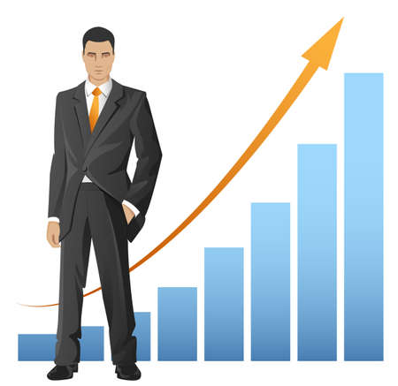 gray suit: Businessman standing in front of the chart