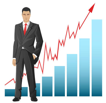 ceo: Businessman standing in front of the chart