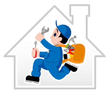 Fully equipped handyman hurrying on his assignment