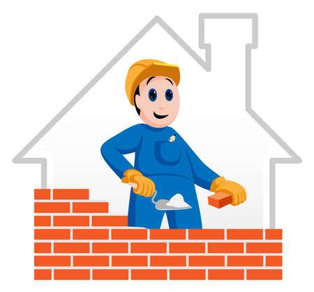 logotipo de construccion: Trabajador de la construcción la construcción de un muro de ladrillo rojo