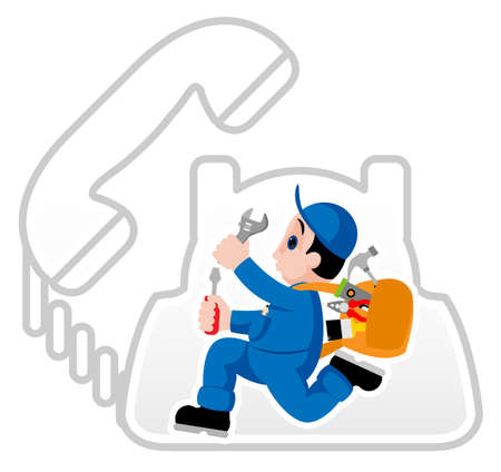 Fully equipped handyman hurrying on his assignment  Vector