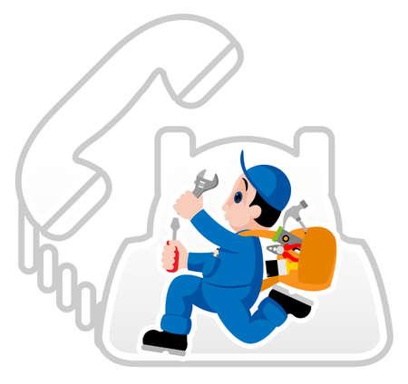 riparatore: Handyman completamente attrezzata che affrettano sul suo incarico