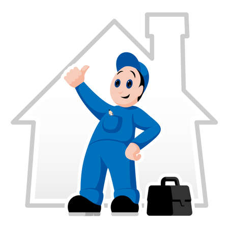 Fully equipped handyman with thumb up and suitcase Vector