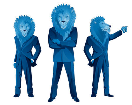 dominant: Three lion businessmen mascots in different poses