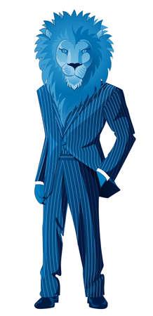 blue collar: Lion businessman mascot in blue striped suit  Illustration