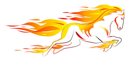 horse running: Beautiful white fiery horse isolated on white Illustration