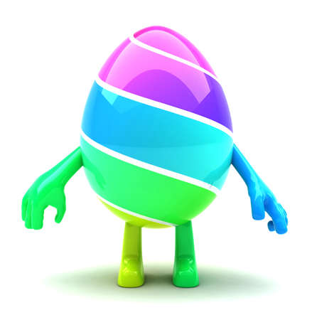Beautiful colored Easter egg mascot with hands and feet photo